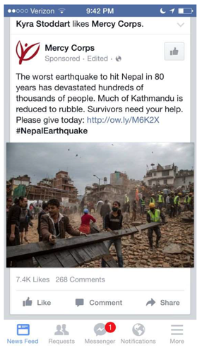 Facebook Ads for Nonprofit Example