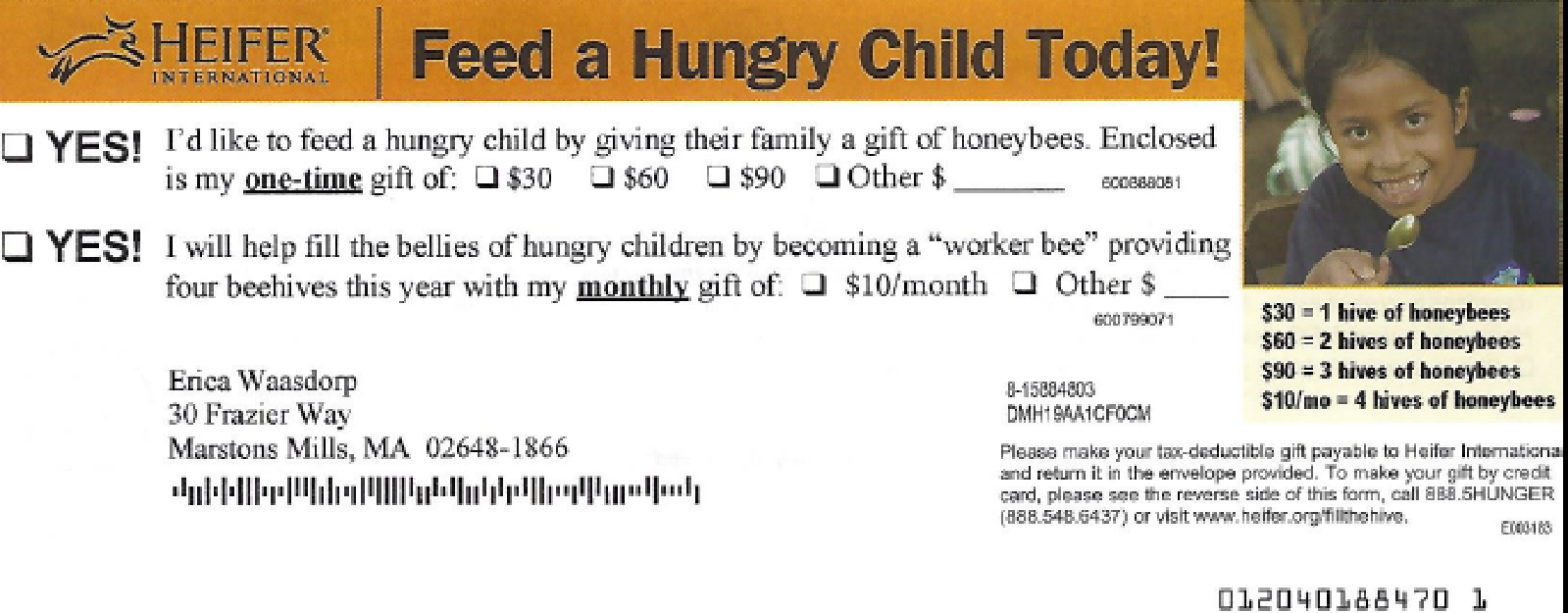 Back of Donation Form Example